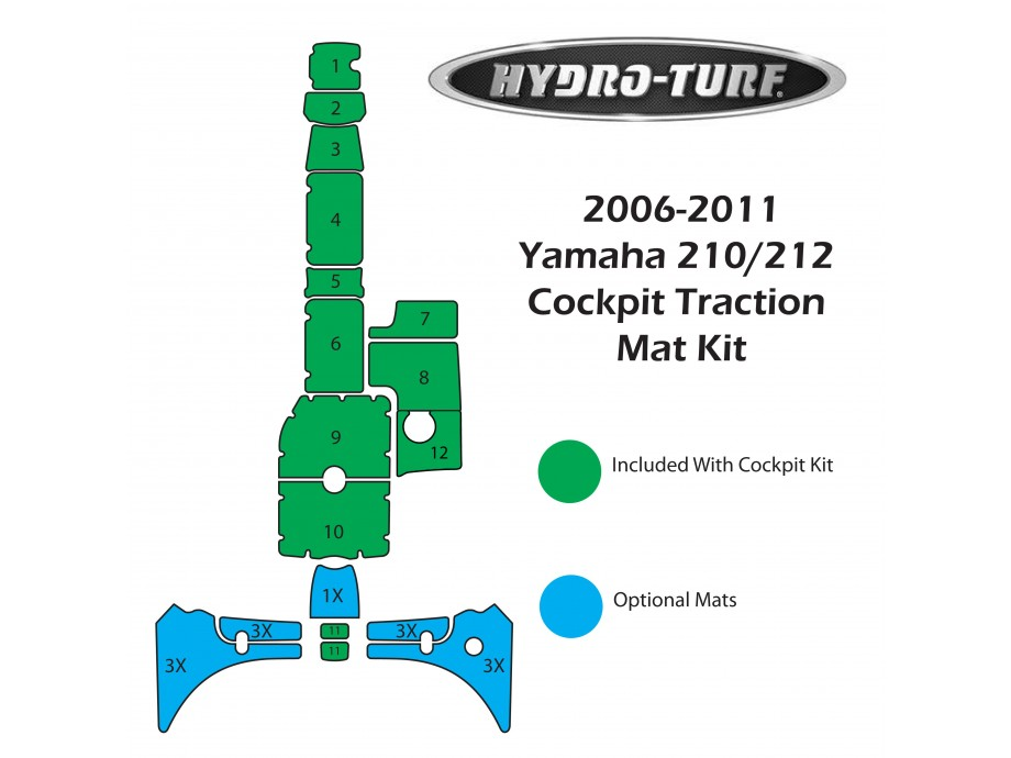 Hydro-turf 210/212 (2006-2011) Traction Mat Kit (cockpit)